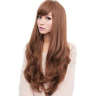 Lady Woman Daily Body Wave Lovely Long Side Bang Synthetic Wavy Wigs Heat Resistant