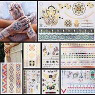8PCS Gold Silver Metallic Temporary Tattoo for Sexy Women Mulicolor National Chain Sea Flower Waterproof Body Art
