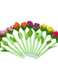 6PCS New Beauty Plush Tulip Flower Pens