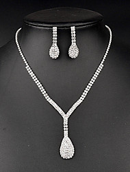 Jewelry Set Rhinestone Rhinestone Bridal Sliver Wedding Party Birthday 1set Necklaces Earrings Wedding Gifts