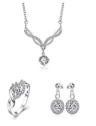 Fashion Round Shape Copper Silver Plated Zircon Foreign Trade Jewewlry Sets