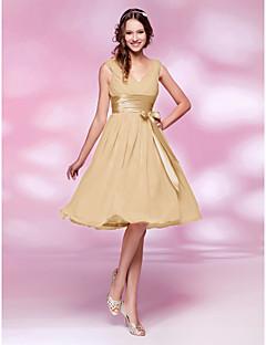 LAN TING BRIDE Μέχρι το γόνατο Λαιμόκοψη V Φόρεμα Παρανύμφων - Mini Me Αμάνικο  Σιφόν f0a820bdbf7