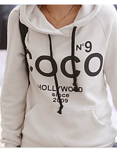 Women's Solid White / Gray Hoodies , Casual Round Neck Long Sleeve