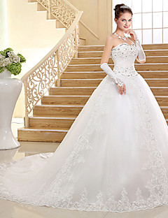 Ball Gown Wedding Dress Lacy Look Chapel Train Sweetheart Lace Tulle with Sequin Beading Appliques Bow
