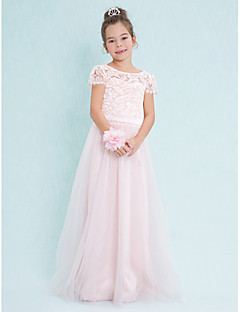 Lanting Bride Floor-length Lace / Tulle Junior Bridesmaid Dress A-line Scoop with Lace