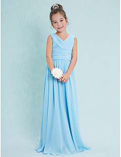 Lanting Bride® Floor-length Chiffon Junior Bridesmaid Dress Sheath / Column V-neck with Criss Cross / Ruching