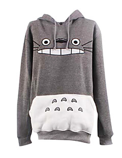 Inspired by My Neighbor Totoro Cat Anime Cosplay Costumes Cosplay Hoodies Print White / Gray Long Sleeve Coat