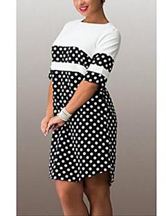 5a2595c7036e Γυναικείο Καθημερινά Μεγάλα Μεγέθη Απλό Φαρδιά Φόρεμα,Πουά ½ Μανίκι  Στρογγυλή Λαιμόκοψη Πάνω από το
