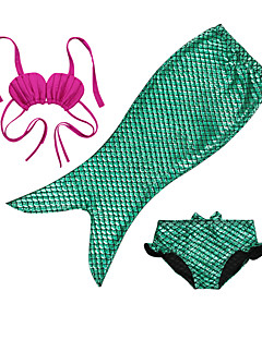 3~10 Years Baby Girls Summer Mermaid Princess 3pcs/set Bikini Swimsuit(Crop top & Triangle & Pant)in Green/Blue/Fuchsia