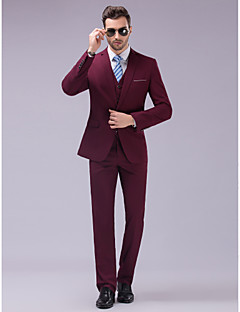 Suits Slim Fit Slim Notch Single Breasted One-button 3 Pieces Burgundy Straight Flapped