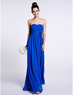 Lanting Bride Floor-length Chiffon Bridesmaid Dress Sheath / Column Strapless with Flower(s) / Criss Cross