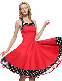 1fd18478345d Γυναικεία Φόρεμα Μεγάλα Μεγέθη   Βίντατζ   Πάρτι Γραμμή Α Μονόχρωμο   Πουά  Ως το Γόνατο
