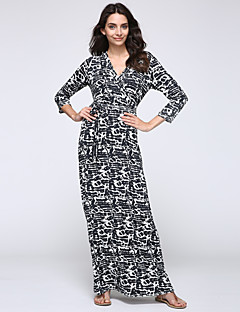 16260920e3a4 Γυναικεία Φόρεμα Κοφτό Βαθύ V Μακρύ Μακρυμάνικο Βαμβάκι   Spandex    Πολυεστέρας