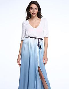 de939ea4484b Γυναικεία Φόρεμα Απλό   Κομψό στυλ street Swing Συνδυασμός Χρωμάτων Μακρύ  Λαιμόκοψη V Πολυεστέρας